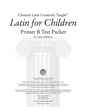 Latin for Children Primer B Test Packet - Veritas Press