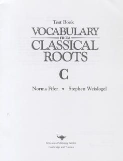 Vocab from Classical Roots C Tests