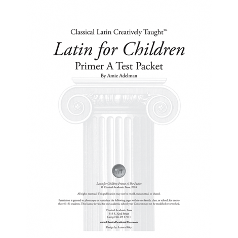 Latin for Children Primer A Test Packet - Veritas Press
